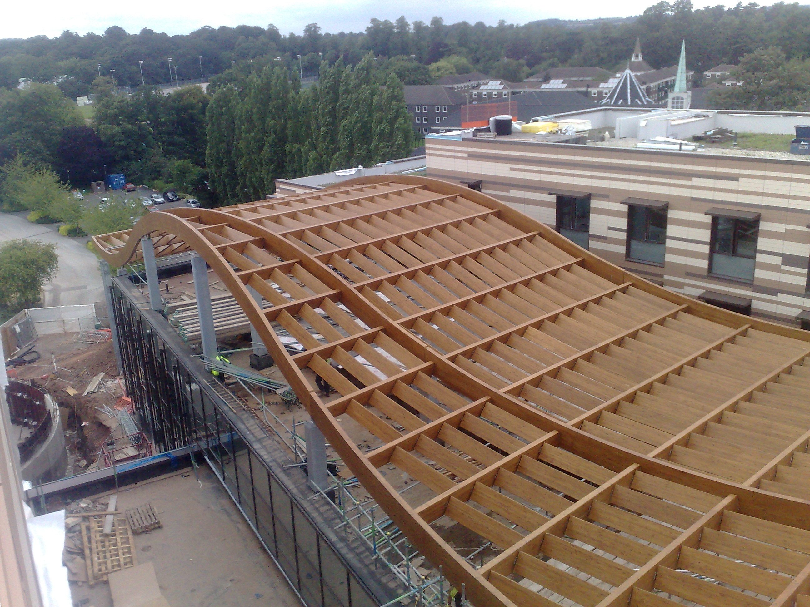 Glulam Roof Structure Steel And Glulam Timber Roof
